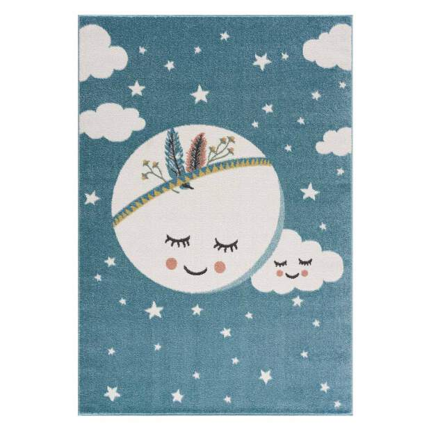 Kinderteppich Mond Anime 9383 Blau